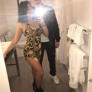 Black & gold mini dress